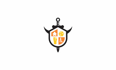 games, shields, swords, board games, emblem symbol icon vector logo