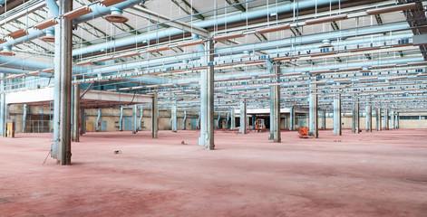 Industrial interior. Empty factory hall