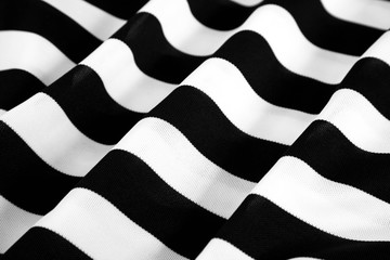Rippled black and white striped fabric