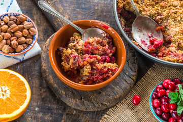 Cranberry, apple  and hazelnut crumble