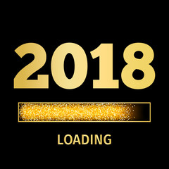 Happy New Year 2018 with golden glitter loading bar icon on black color background. Vector Illustration