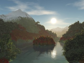 island on a mountain lake. autumn trees on an island of a mountain lake.