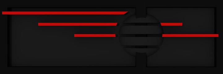 abstrakter Website-Header/Banner in schwarz und rot mit Streifen und Kugel.