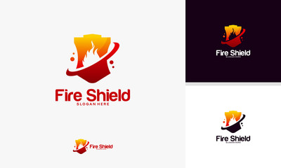 Modern Fire Shield logo template designs, Shield logo designs symbol