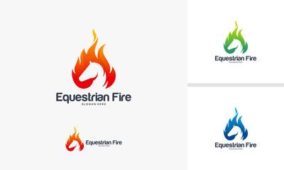 Horse Fire logo designs concept, Fast horse logo template, Equestrian logo symbol