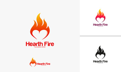 Hearth Fire logo designs concept, Fire Love logo designs template, Fire and love logo symbol