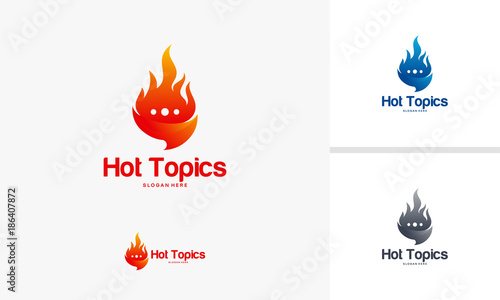 Elegant Hot Topics Logo template, Hot News Logo designs vector ...