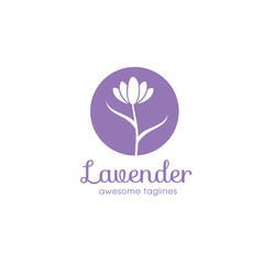 lavender flower logo for beauty and cosmetic company , lavender flower Logo in trendy linear style