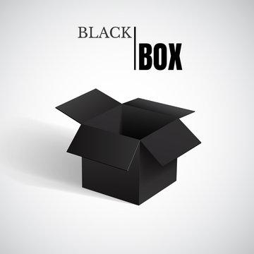 Open box, black cardboard, vector container