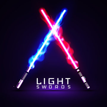 neon light swords. crossed light, fire, flash and sparkles