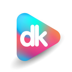 Letter DK logo in triangle shape and colorful background, letter combination logo design for business and company identity.