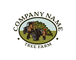 Father and Son Cuting Pine Tree and Taken to the Truck - Tree Farm Circle Company Logo Symbol Vector