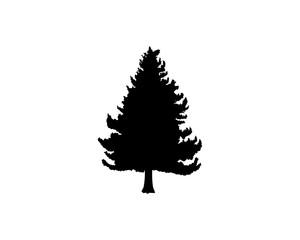 Black Pine Tree Illustration Vector Logo Silhouette