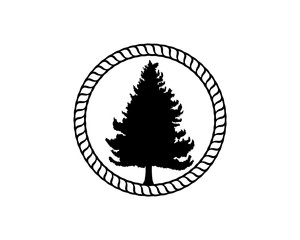 Black Pine Tree and Classic Circle Like a Rope Illustration Vector Logo Silhouette