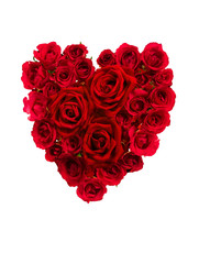 Roses arrangement in heart shape for Valentines day isolated on white background with clipping path