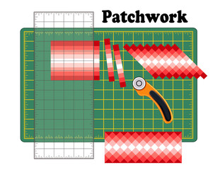 Patchwork DIY, Cutting Mat, Quilters Ruler, Rotary Blade Cutter, Traditional Strip Piece Pattern, reorganize strips into designs, for arts, crafts, sewing, quilting, do it yourself projects.