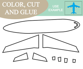 Color, cut and glue to create the image of airplane (air transport). Game for children.