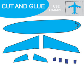 Cut and glue to create image of airplane (air transport). Educational game for children.