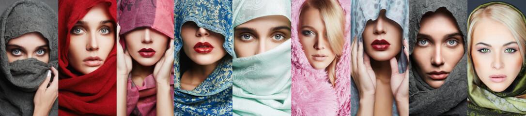 beauty collage of beautiful women