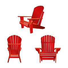 Wooden garden chair, adirondack style. Classic outdoor furniture.  Vector illustration on white background