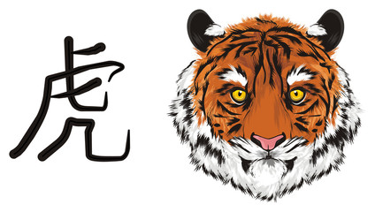 tiger, wild cat, cat, striped, animal, zoo, predator, claws, orange, roar, India, illustration, muzzle, sign, stymbol, hieroglyph