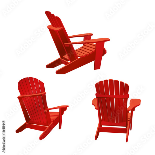 Wooden garden chair, adirondack style. Classic outdoor ...