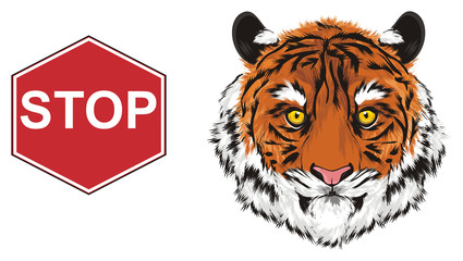 tiger, wild cat, cat, striped, animal, zoo, predator, claws, orange, roar, India, illustration, muzzle, road, sign, red, stop, stop to kill tiger