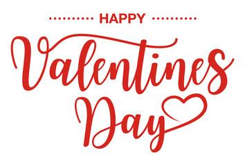 Happy Valentines Day, Handwritten text on white background