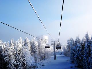 Chair lift in a ski resort in the early morning