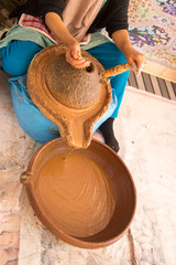 the making of argan oil from the argan nut by local women Essaouira