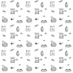Seamless background Hand drawn doodle Pets stuff and supply icons set. Vector illustration. Vet symbol collection. Cartoon cats care elements: kitty, food, paw, bowl, carrier Pattern for pet shop