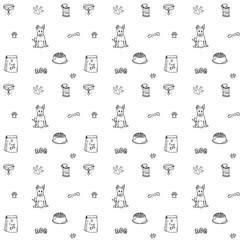 Seamless background Hand drawn doodle Pets stuff and supply icons set. Vector illustration. Vet symbol collection. Cartoon dogs care elements: puppy, food, paw, bowl, bone Pattern for pet shop