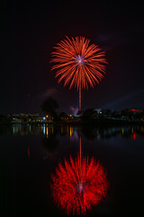Happy New Year fireworks night scene, udon thani cityscape river view, city