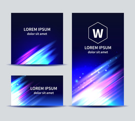 Set of colorful backgrounds in blue vector templates