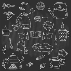 Hand drawn doodle Tea time icon set. Vector illustration. Isolated drink symbols collection. Cartoon various beverage element: mug, cup, teapot, leaf, bag, spice, mint, herbal, lemon, kettle.