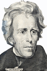 Andrew Jackson portrait on a white background