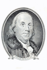 Benjamin Franklin portrait on a white background