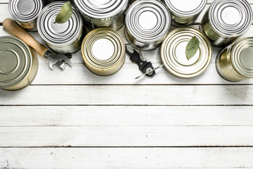 Tin cans with food and opener.
