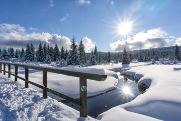 Foto op Canvas Reflectie Winter mountain landscape with stream and wooden bridge. Trees and the sun are reflected in the water. Izera Mountains, Czech Republic, Europe.
