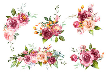 Set Watercolor flowers. Hand painted floral illustration. Bouquet of flowers red rose. Design arrangements for textile, greeting card. Abstraction  branch of flowers isolated on white background.