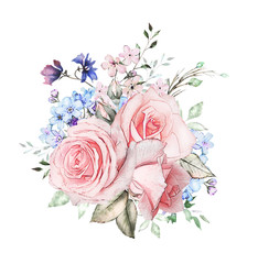 watercolor flowers. floral illustration, Leaf and buds. Cute composition for wedding or  greeting card.  branch of flowers - roses, isolated on white background