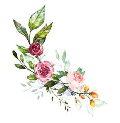 Watercolor flowers. Hand painted floral illustration. Bouquet of flowers rose, leaves and buds. Design arrangement for textile or greeting card. Abstraction  branch of flowers