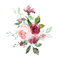 Watercolor flowers. Hand painted floral illustration. Bouquet of flowers rose, leaves and buds. Design arrangement for textile or greeting card
