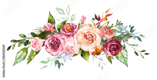 Watercolor flowers hand painted floral illustration bouquet of watercolor flowers hand painted floral illustration bouquet of flowers rose leaves and buds altavistaventures Image collections
