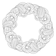 Wreath in black and white for adult coloring book.