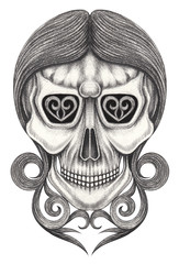 Art Women Skull Tattoo. Hand pencil drawing on paper.