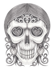 Art Fancy Women Skull. Hand pencil drawing on paper.