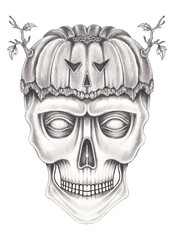 Art surreal pumpkin mix skull. Hand pencil drawing on paper.