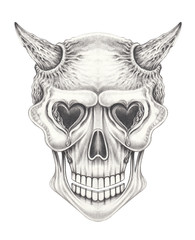 Art Surreal Devil Skull. Hand pencil drawing on paper.