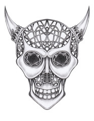 Art Graphic Devil Skull. Hand pencil drawing on paper.